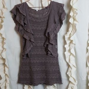 Knitted and Knotted open knit sweater tank linen